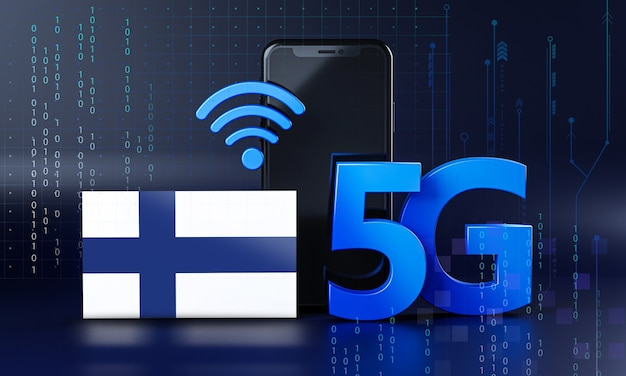 Finland ready for 5g connection concept. 3d rendering smartphone technology background