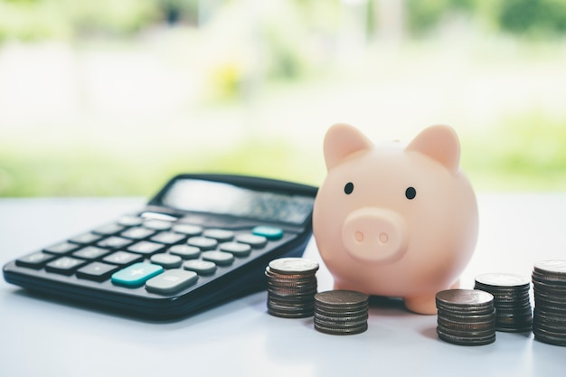 금융, 돈과 투자 개념을 절약합니다. 돼지 저금통과 동전입니다.