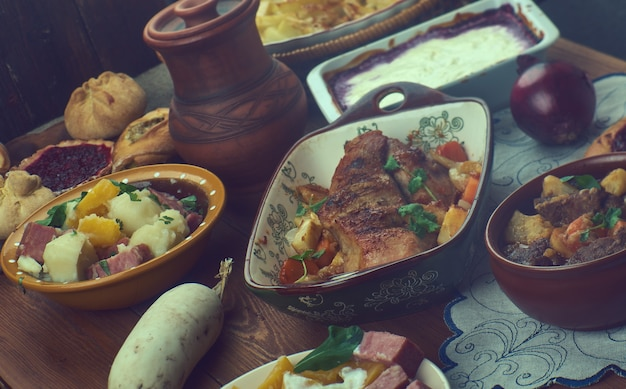 핀란드 요리, 전통 모듬 요리, 평면도.