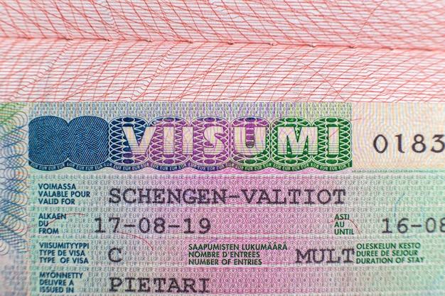 Finnish visa stamp in passport finnish schengen