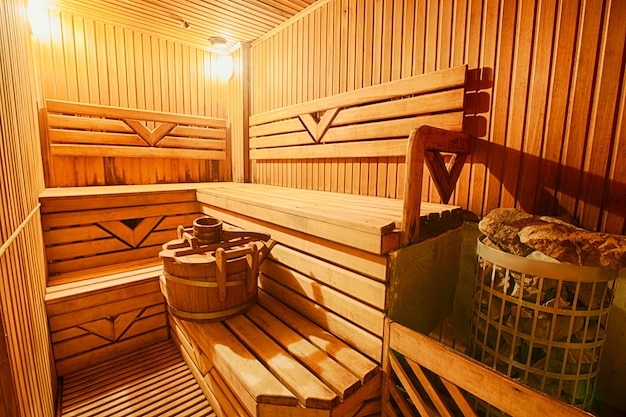 Finnish wooden modern empty sauna interior
