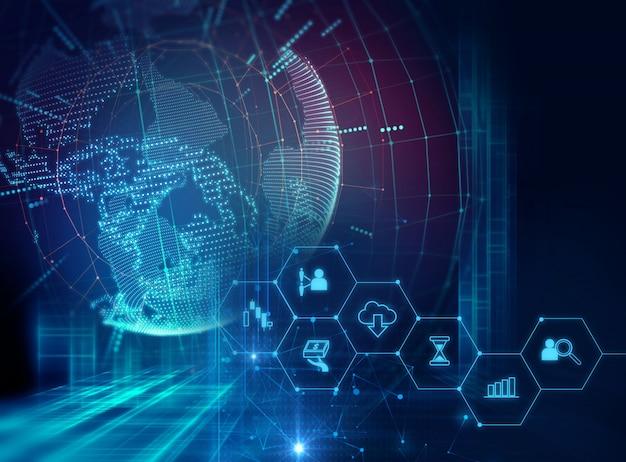 Значок fintech на фоне абстрактных финансовых технологий.