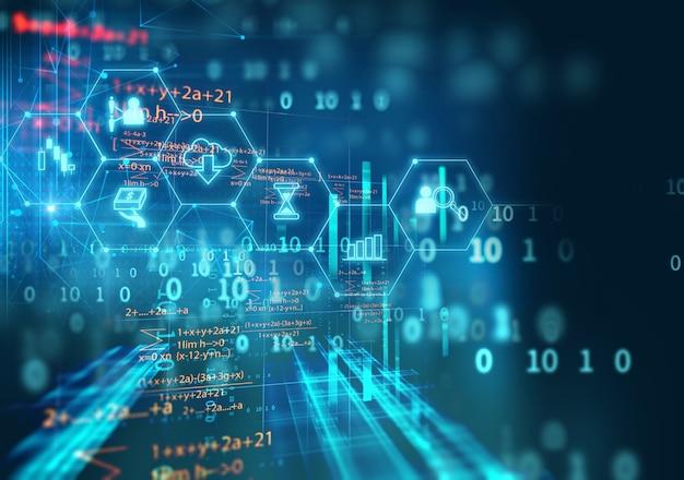 抽象的な金融技術の背景にfintechアイコン。