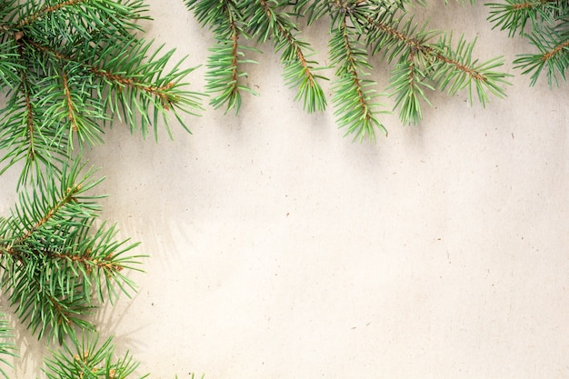 Fir branches border on light rustic background, good for christmas backdrop.