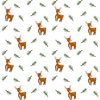 전나무 가지, 사슴 디지털 종이, 가문비 나무 가지 원활한 패턴, 겨울 배경, 미니멀 한 디자인, 크리스마스 포장