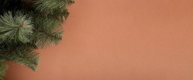 Еловые ветки на коричневом фоне. концепция на новый год и сочельник. баннер.