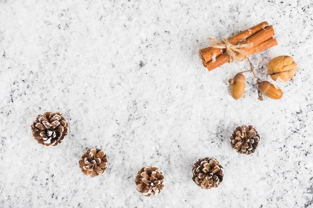 Fir snags near cinnamon and nuts