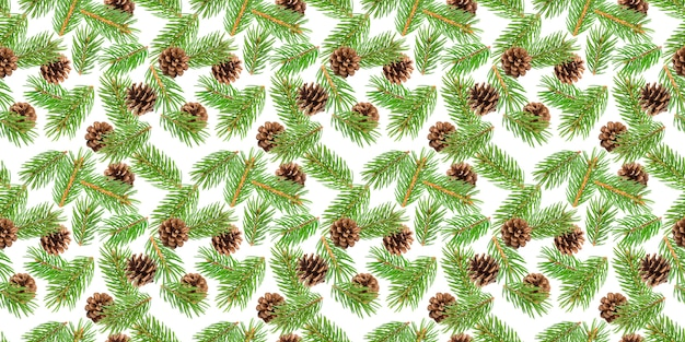 Fir tree branches seamless pattern
