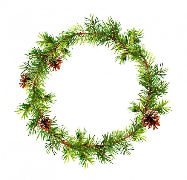 Fir tree branches with cones wreath