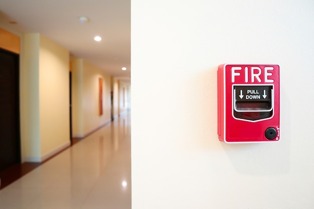 Fire alarm system install on the wall.