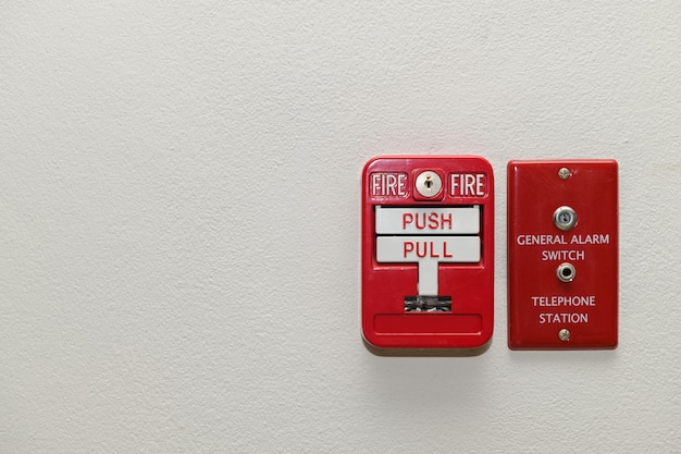 Fire alarm system. pull danger fire safety box.
