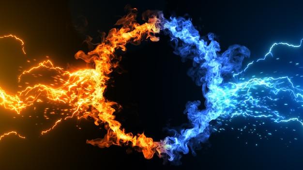 3d иллюстрация концепции огня и льда premium фотографии