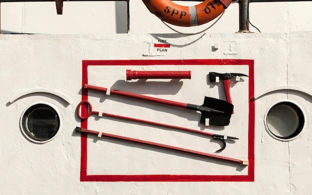 Пожарный щит на морском судне на камчатке