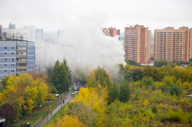 A fire in the city there is a lot of smoke
