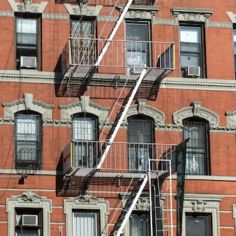 Fire escape outside a building, manhattan, new york city, new york state, usa
