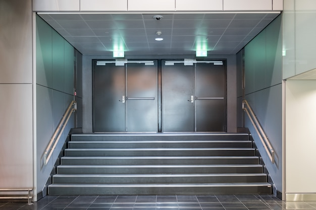Fire exit metallic doors with staircase