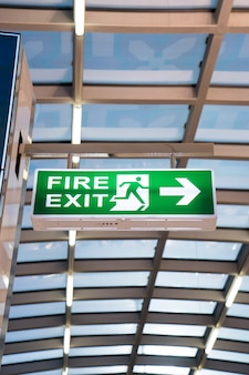 Fire exit sign at the airport