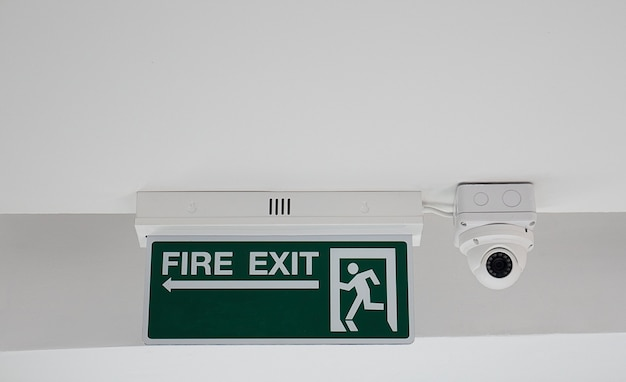 Fire exit sign and cctv camera security