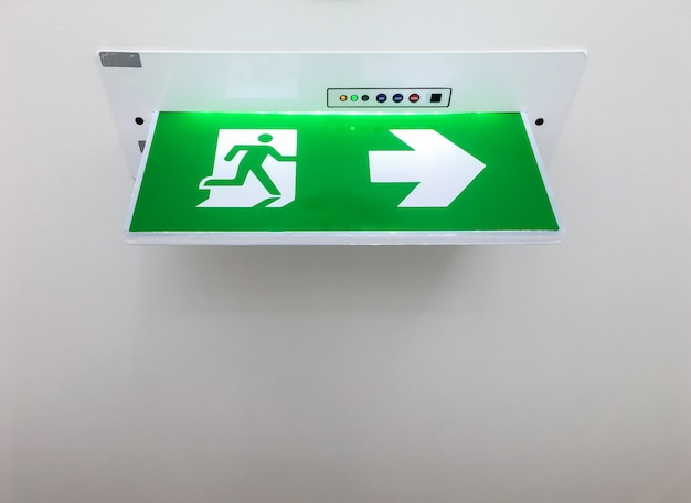 Fire exit sign with lighting.