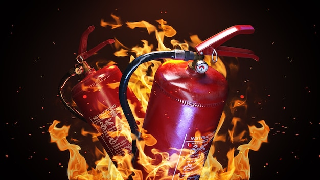Fire extinguisher on a fire background 3d rendering