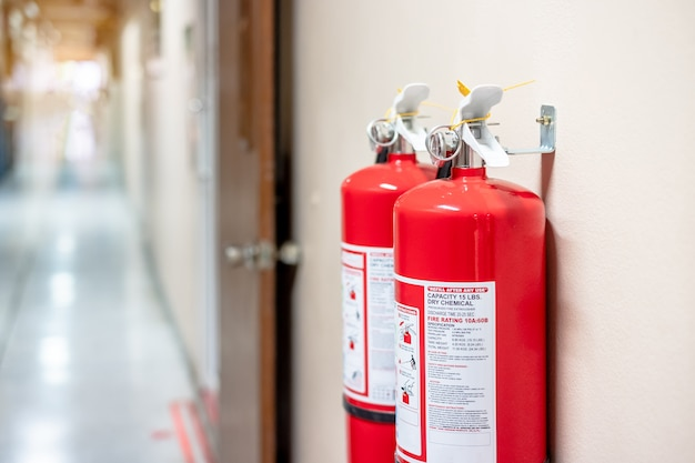 Fire extinguisher system on the wall
