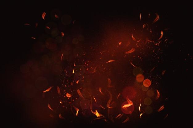 검은 배경에 불 불꽃
