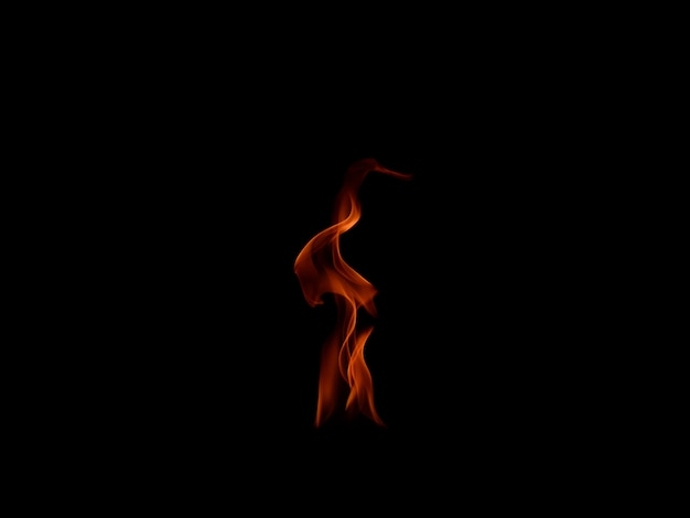 Fire flames isolated on black background