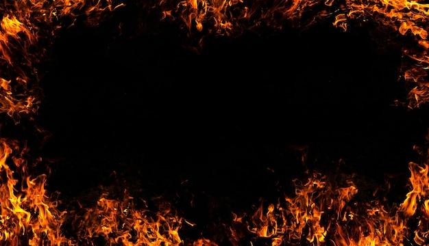 Огонь пламя на абстрактное искусство черном фоне
