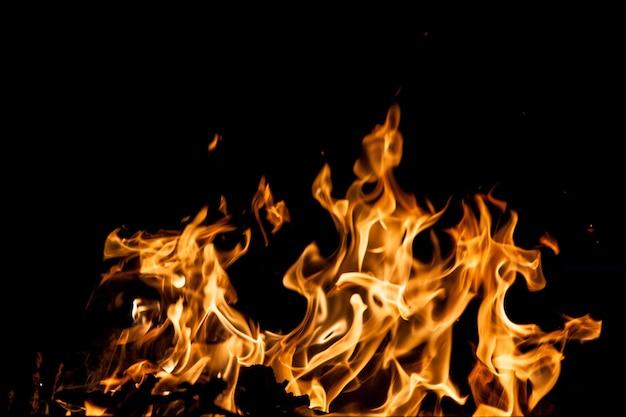 黒い背景に火炎