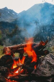 산의 배경에 불길