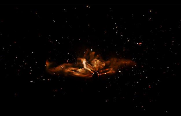 黒い表面に隔離された火花で炎を発射する