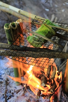 Fire the food in the forest during hiking.