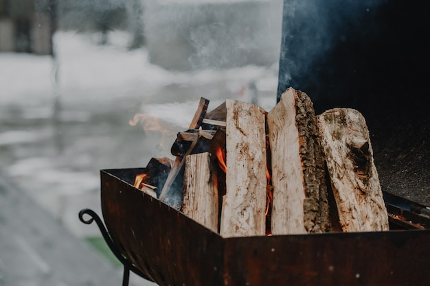 Fire from wood ember for grill or bbq picnic