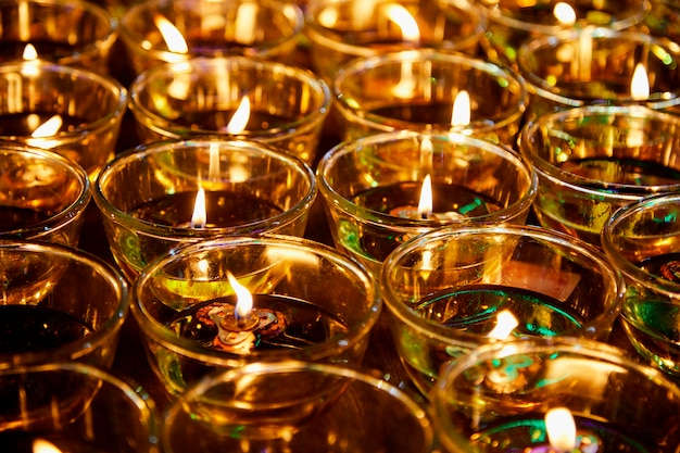 Fire in glasses for blessing buddha