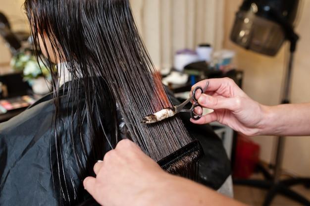 Fire hair treatment in the beauty salon