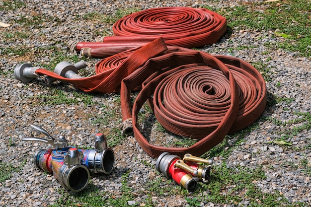 Fire hose coil  fire and rescue training school regularly to get ready - help, fire protection concept
