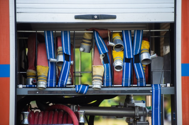 Fire hose and equipment in the fireman truck