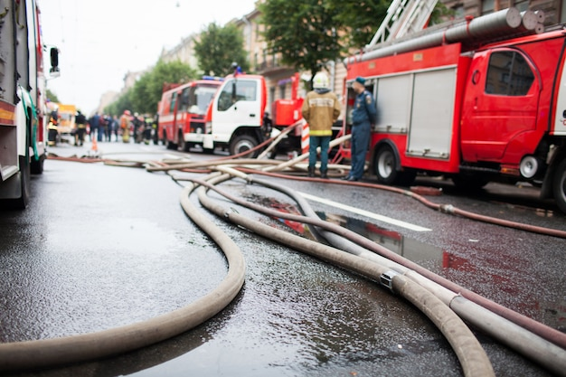 Fire hoses on the background of fire trucks.
