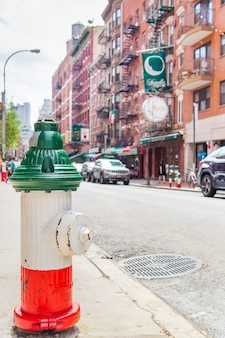 Fire hydrant with the flag of italy from the italian quarter of nyc