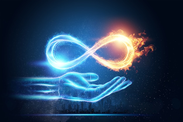 Fire ice infinity symbol isolated