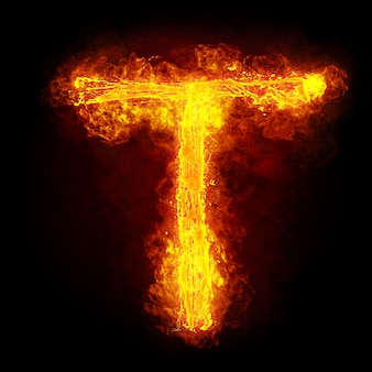 Огненная буква т. огненный шрифт. яркий огненный символ шрифта.