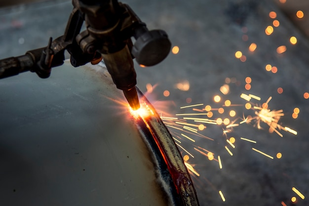 Fire metal cutting at construction site