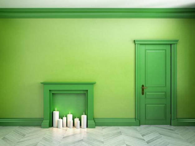 고전적인 스칸디나비아 녹색 인테리어의 벽난로, 문 및 쪽모이 세공 마루. 3d 렌더링 그림입니다.