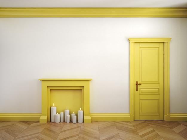 고전적인 스칸디나비아 노란색과 흰색 인테리어의 벽난로, 문 및 쪽모이 세공 마루. 3d 렌더링 그림입니다.