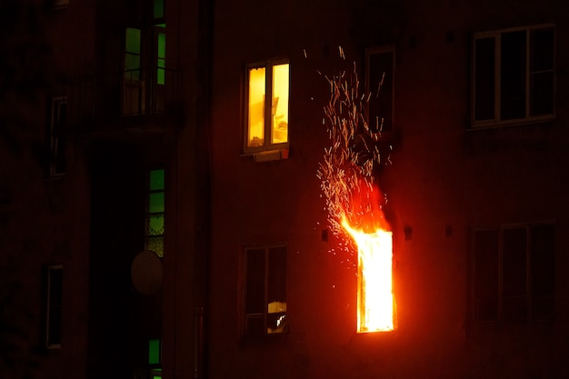 Fire in a residential building. high quality photo