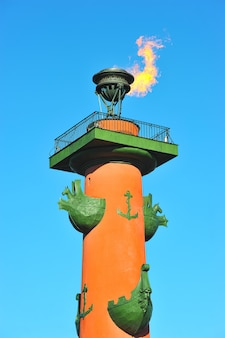 The fire of the rostral columns in st. petersburg, russia