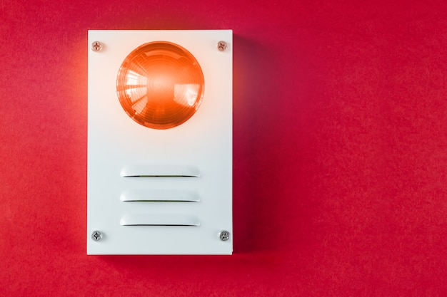 Fire safety system on a red background