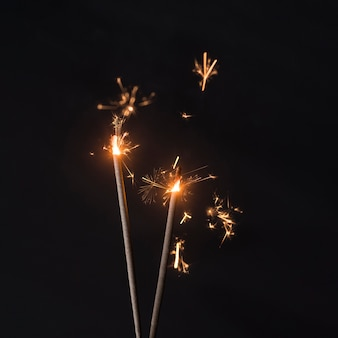 Fire sparkles against the background
