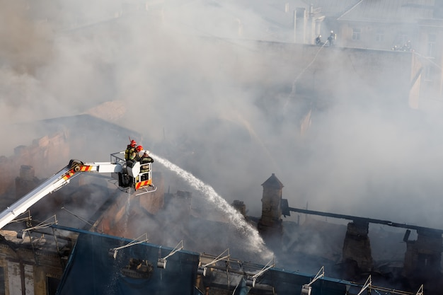 Fire in a three-story house in kiev