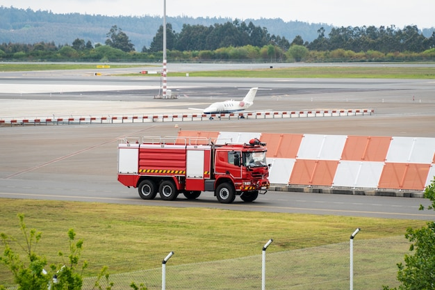Fire truck on landing lane airport